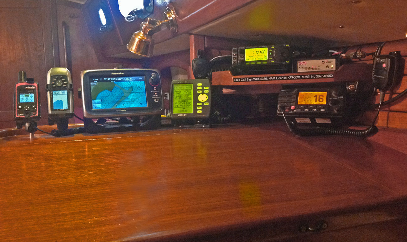 Pacific Seacraft 34 Sailboat Design And Sailing Characteristics Garmin 8000 Wiring Diagram Left To Right Are The Inreach Explorer Satellite Messenger Small Gpsmap 78sc Chartplotter That Also Functions As Compass Barograph